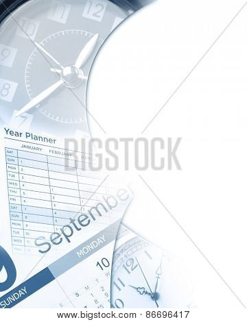 Clocks, calendar, year planner on white, copy space
