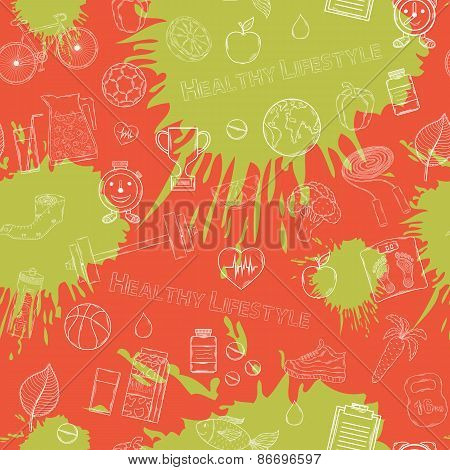 Vector Healthy lifestyle white pattern