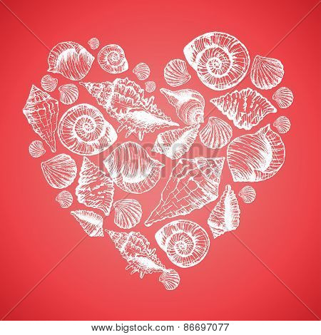 Hand drawn pattern with various seashells in the form heart