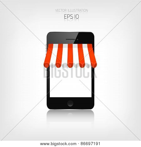 Internet shopping concept. Realistic smartphone. E-commerce. Online store. Web money and payments. P