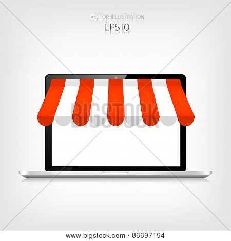 Internet shopping concept. Realistic laptop. E-commerce. Online store. Web money and payments. Pay p