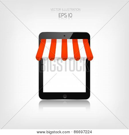 Internet shopping concept. Realistic tablet. E-commerce. Online store. Web money and payments. Pay p