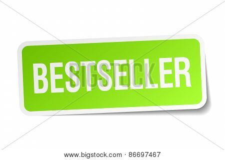 Bestseller Green Square Sticker On White Background