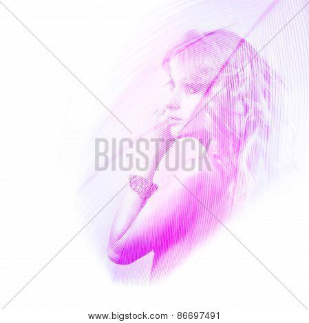 Double Exposure Portrait of a Beautiful Woman