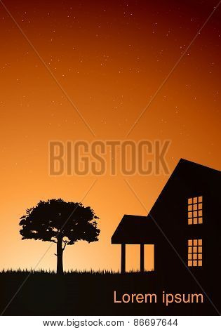 illustration of a house with a tree at sunset