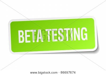 Beta Testing Green Square Sticker On White Background