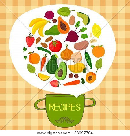 Recipes Concept Card With Fruits And Vegetables:  Banana, Mango, Papaya, Orange, Lemon, Strawberry,