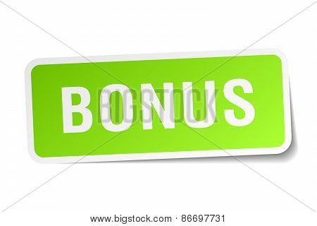 Bonus Green Square Sticker On White Background