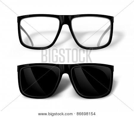 Black glasses isolated on white. Vector illustration