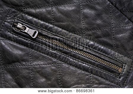 Pocket gray leather jacket with zip, background