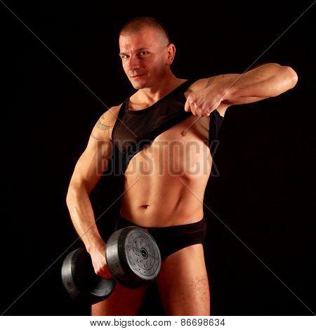 Sexy Man In Black Underwear With Weight