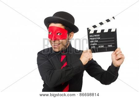 Young man with red mask and clapisolated on white