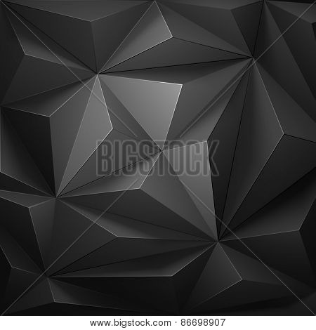 Low poly, geometric background gray color.  Vector illustration