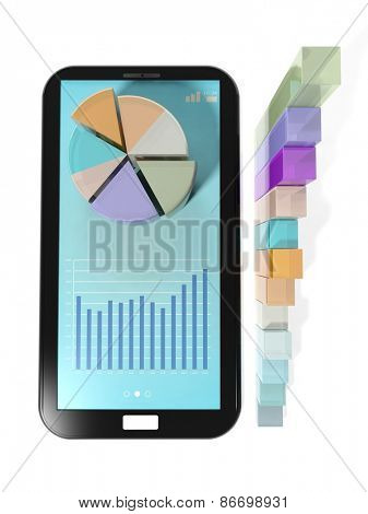 Colorful business pie and bar charts on tablet screen, isolated on white