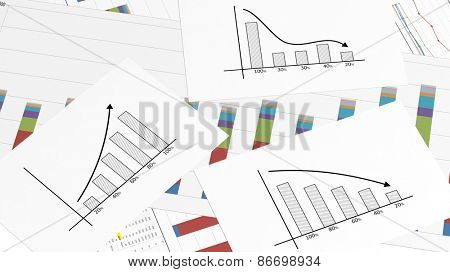 Business paper documents with info charts closeup
