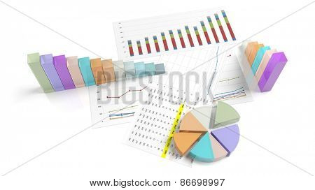 Colorful business pie and bar chart on documents, isolated on white