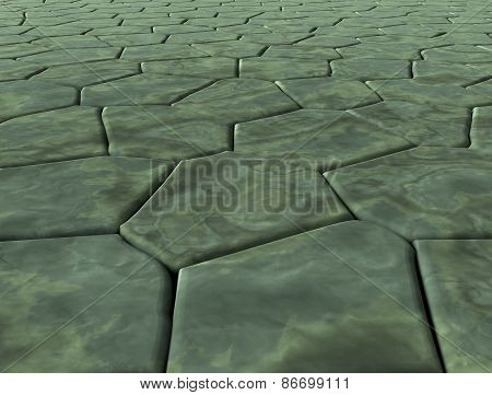 Plane, Covered With Paving Stones Of Marble Of Different Shapes