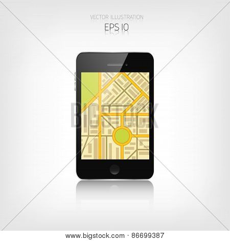 Navigation background with smartphone and map.Responsive web design. Adaptive user interface.