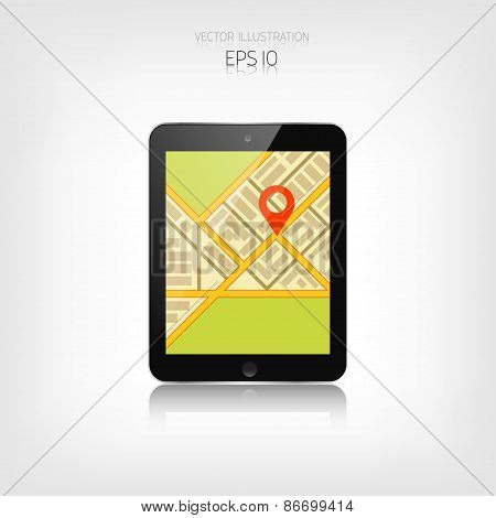 Navigation background with tablet and map.Responsive web design. Adaptive user interface.