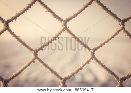 Frozen Snow On Metal Fence