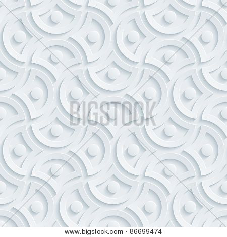 Light perforated paper with cut out effect. Abstract 3d seamless background. Vector EPS10.