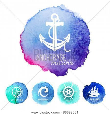 5 sea theme logo templates over watercolor backgrounds
