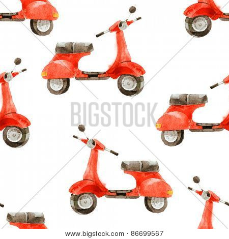 watercolor seamless pattern with vintage scooter