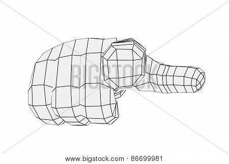 Wire-frame hand pointing finger at camera. Isolated