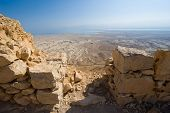 foto of masada  - View from Masada in Israel to the dead sea - JPG