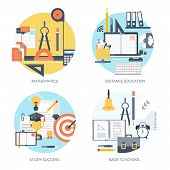 Flat vector illustration. Study and learning concept background. Distance education and online cours poster