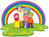 image of muslim kids  - Muslim family standing on the lawn with rainbow background - JPG