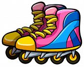 foto of four-wheel  - Pair of rollerskates with four wheels - JPG