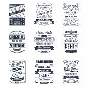 pic of denim jeans  - Classical denim jeans typography logo emblems limited edition graphic design icons collection black abstract isolated vector illustration - JPG