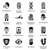 image of dna fingerprinting  - Biometric authentication icons black set with voice ear shape fingerprint recognition symbols isolated vector illustration - JPG
