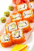 foto of masago  - California Maki Sushi with Masago   - JPG