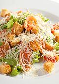 stock photo of caesar salad  - Caesar Salad with Salmon - JPG