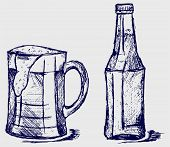 picture of drawing beer  - Mug and bottle beer - JPG