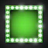 pic of neon green  - Vector green neon lights lamp vector frame template - JPG