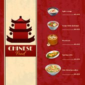 picture of chinese menu  - Asian food menu template with traditional chinese food dishes vector illustration - JPG