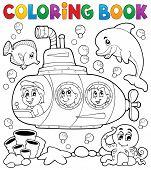 stock photo of undersea  - Coloring book submarine theme 1  - JPG
