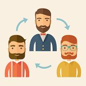 stock photo of gathering  - Three happy Caucasian employees with beard communicating and exchanging ideas each other for them to  come up a   good marketing strategy before they will present it - JPG