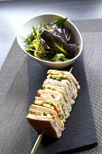 pic of collate  - Club sandwich skewer and salad in a bowl - JPG