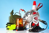 foto of rectifier  - car accessories with fuel can and traffic cone - JPG