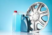 stock photo of rectifier  - group of car accessories including windshield washer fluids - JPG
