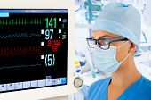 foto of intensive care unit  - Female doctor with monitor in intensive care unit - JPG