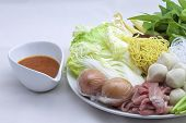 picture of shabu  - Sukiyaki mixed vegetables meat combinations are set on a plate - JPG