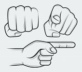 foto of clenched fist  - Punching fist hand with index finger pointing at the viewer and side view pointing hand - JPG