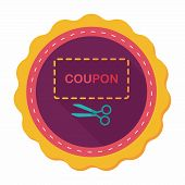 stock photo of coupon  - Shopping Sale Coupon Flat Icon With Long Shadow - JPG