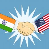 picture of indian flag  - Illustration of handshake with Indian and USA flag - JPG