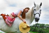 foto of horse girl  - The red - JPG